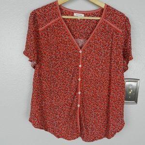 Max Studio Red Floral V Neck Short Sleeve Top